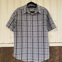 Marmot button down short sleeve shirt men's size L gray plaid