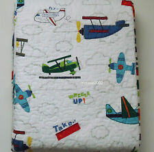 3PC Authentic Kids AIRPLANE Full QUEEN QUILT SHAMS SET Cotton BLUE GREEN RED NEW