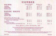 Humber Hawk and Super Snipe Price List 1960 Ref 757/H