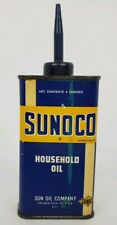 Vintage Sunoco Household Oil 4 Oz. Metal Can Handy Oiler Man Cave Display Empty