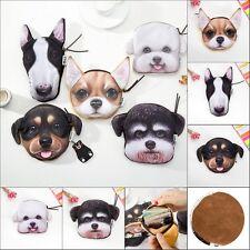 Fashion 3D Animals Cat Dog Face Zipper Case Coin Card Purse Wallet Pouch Bag
