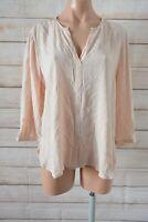 Diana Ferrari Popover Shirt Blouse Size 12 Pink V-neck Three-quarter Sleeve