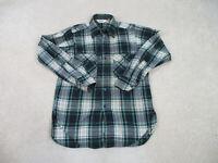 Woolrich Button Up Shirt Adult Medium Green Blue Long Sleeve Casual Wool Mens *