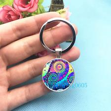 Blue Paisley Art Photo Tibet Silver Key Ring Glass Cabochon Keychains -360