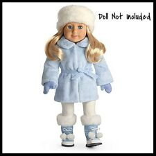 New in Box Retired American Girl Snow Flurry Outfit Coat Hat Boots Mittens Charm