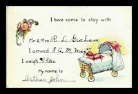 VINTAGE POSTCARD BABY STORK ANNOUNCEMENT SERIES 801 CANADA POSTED 1924 2 X STAMP