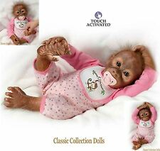 "Ashton Drake ""Lelia's Loving TOUCH"" - 20"" interactive Baby Monkey doll & Paci-Neuf"