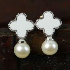 Boucles d'Oreilles Perle de Culture d`Eau Douce Argent Massive 925 Trèfle Blanc