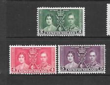 1937 King George VI Coronation SG254 - SG256 set x 3 Mint Hinged NEWFOUNDLAND