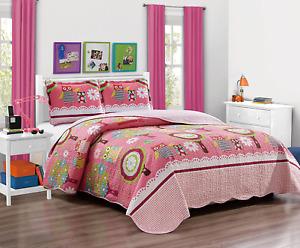 3Pc Bedspread Kids Bedding Comforter Set Teens Girls Owl Pink Full Queen Size