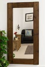Large Wall Mirror Extra Rustic Design Brown Solid Wood 6Ft X 3Ft 179cm X 87cm)