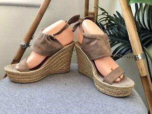 DELMAN Wedges Women's Size 9.5 US Brown Suede Leather Wedge Heel Platform Heels