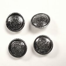 4 Pack Set, 1″ Antiqued Silver Western Saddle Bright Concho With 1/4″ Screw Back