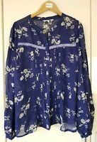 Next Women's Top Blouse Size 8 Navy Blue Floral Long Sleeve All Seasons Light