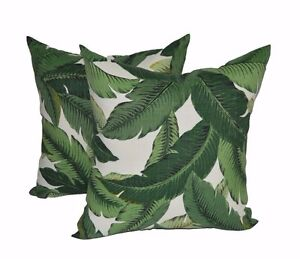 """Set of 2 Outdoor 17"""" Square Pillows made w/ Tommy Bahama Palm Aloe Green Fabric"""