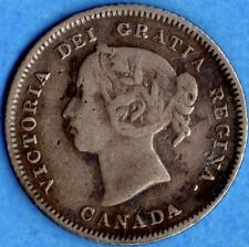 Canada 1883 H 5 Cents Five Cent Small Silver Coin - Fine