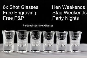 Personalised Shot Glasses x 6, Birthdays, Stag / Hen Nights, Wedding Favours