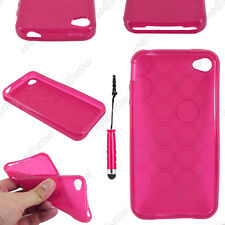 Housse Etui Coque Silicone Cercle Rose Apple iPhone 4S 4 + Mini Stylet