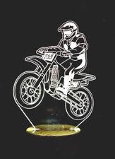 Motocicletas Motocross 3D ilusión LED Lámpara & Control remoto, puede agregar nombre o texto