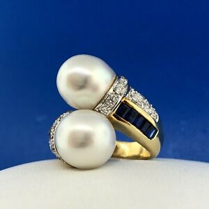 Estate 18K Yellow Gold Diamond Sapphire Pearl Bypass Cocktail Dinner Ring
