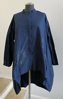NWOT MOYURU Navy Cotton Tunic Top Blouse | Size Small