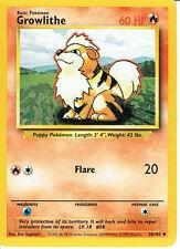 POKEMON BASE SET 1 UNCOMMON CARD 28 GROWLITHE graded 9/10