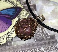 STUNNING HAND-CRAFTED GOLD WIRE-WRAPPED RHODONITE PENDANT 1-1/2 INCHES
