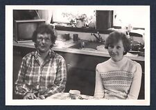 Two Women Sitting in Retro 70's Kitchen Vintage Black & White Photograph (1979)