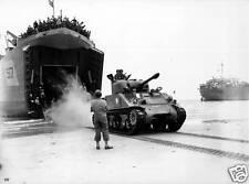 B&W WWII Photo US Army M4 Sherman Tank on Beach WW2 World War Two