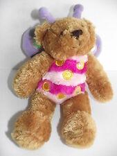 "Plushland 2006 BUTTERFLY BEAR 9"" Soft Plush Beanie Bean Stuffed Animal Lovey Toy"