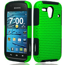 Kyocera Hydro Edge C5215 MESH Hybrid Silicone Rubber Skin Case Phone Cover Green