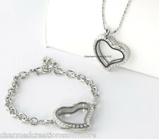 SECURE CLASP Silver Crystal Heart Floating Charm Locket Bracelet Necklace Set