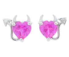 Pink Sapphire & Diamond Devil Heart Stud Earrings White Gold Silver