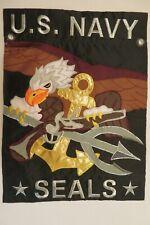 U.S. Navy Seals, Eagle, Anchor, & Trident, Sewn Applique Garden flag 2-sided