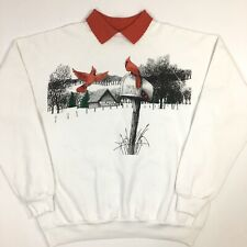 Vtg ROOSTER BARN Christmas TREE Red Birds Xmas Party 50/50 SweatShirt FRONT BACK