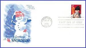 USA3 #3685 U/A ARTCRAFT FDC   Snowman Blue Plaid Scarf