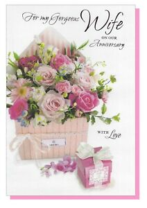 """Wife Anniversary Card - Flowers Roses Female  Love Wedding -  LARGE 9""""x6"""""""