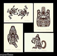 Bill Reid 4 Embossed Haida Art Cards Copper Totem Package Frog Beaver Wolf Shark