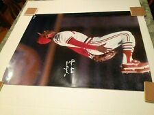 Rare Ozzie Smith Real Autographed Baseball Color Poster Wizard doing a Backflip