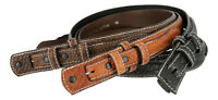 "Western Ranger Genuine Leather American Bison Belt Strap 1-3/8"" Wide Size 32-50!"