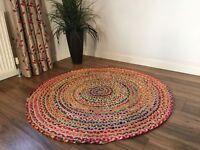 Indischer Runder Vintage Woven Teppich aus Jute & Baumwolle Wende-Teppich 60 cm