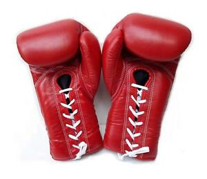 WINDY BOXING GLOVES LACE UP BGL RED 6,8,10,12,14,16,18,20 OZ. MUAY THAI  K1 MMA