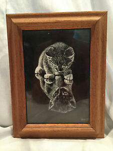 Vintage 1975 Wood Framed 5x7 Droguett Kitten Etchings Reflections Black & White