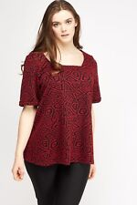 Womens Plus Size 16 - 30 Red Black Square Neck Textured Tunic Top Cap Sleeves