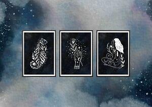 3 X ART PRINTS, A4, ECO FRIENDLY, ILLUSTRATION, MOON, TIGER, TATTOO, TAROT CARD