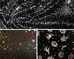 100% Polyester Halloween Satin Foil Print Craft Dress Fabric Material 150cm wide