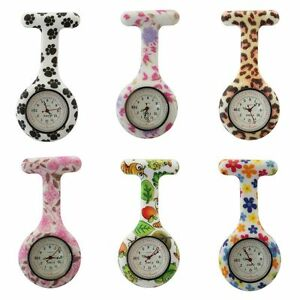 Censi Floral and Animal Print Silicone Nurse FOB Watch Date on Dial Tunic Brooch
