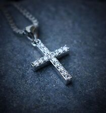 Mini Micro Hip Hop White Gold Plated Iced Cross Pendant Box Chain Necklace Set