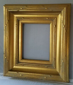 Ariel handmade picture Wood frame Scoop Design W/ lightly fluted edges in gold.
