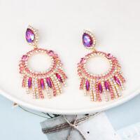 Fashion Women Crystal Rhinestone Tassel Jewelry Earring Dangle Stud Earrings